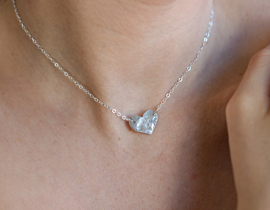 Tiny Silver Heart Personalized Necklace