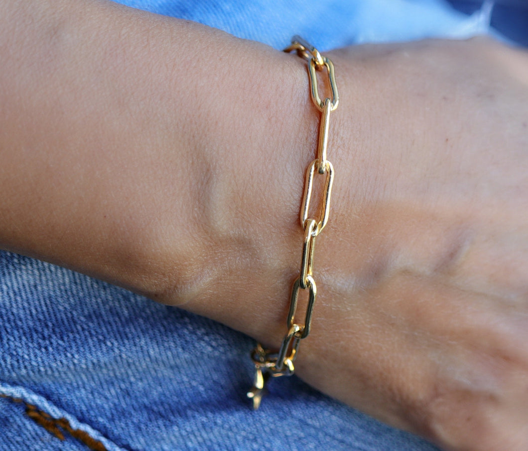 Oval Link Chunky Thick Chain Bracelet in Gold Filled or Sterling Silver