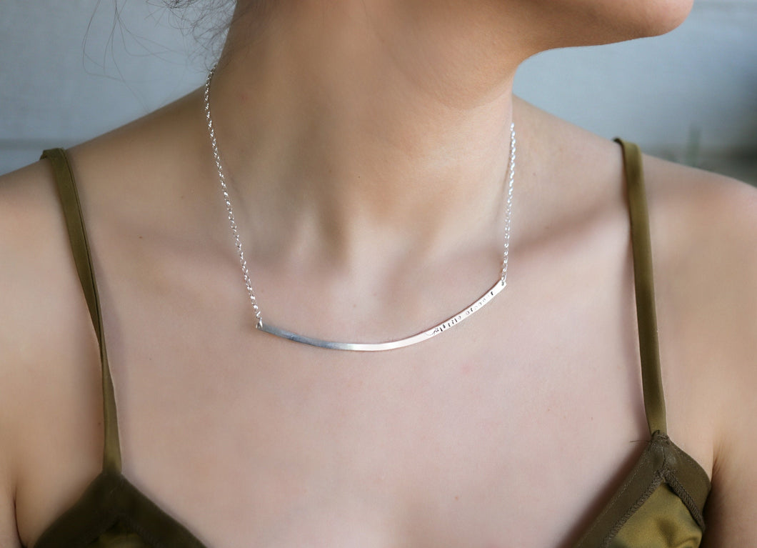 Personalized Silver Bar Necklace, Custom Layering Bar Necklace, Silver Choker