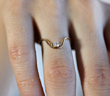 Load image into Gallery viewer, Curved Wedding Ring, Marquise Diamond Gold Band
