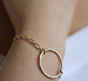 Hammered Big Bold Open Circle Bracelet