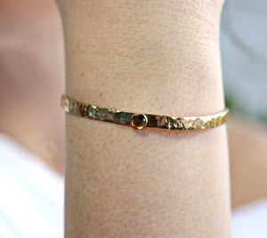 Citrine Hammered Gold Cuff Bracelet