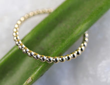Load image into Gallery viewer, 14k Solid Gold Beaded Ring, Gold Stacking Ring