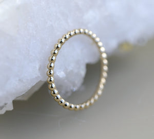 14k Solid Gold Beaded Ring, Gold Stacking Ring