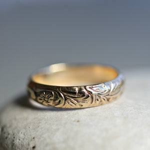 14k Gold Floral Wedding Band, Art Nouveau, Romantic Ring