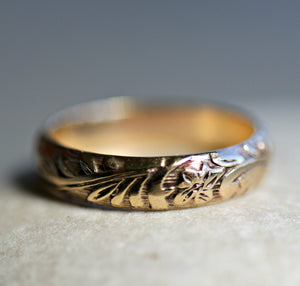 Gold Ring Set of 3, Gold Floral Wedding Band