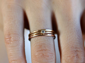 Solid Gold Ring Set Of 3, 14k Gold Ring Set