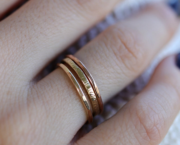 Gold Stacking Rings, Set Of 3 Rings