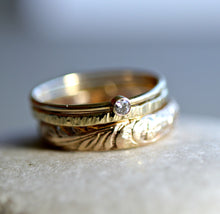 Load image into Gallery viewer, Set of 3 Gold Hammered Band Rings, Stacking Ring Set