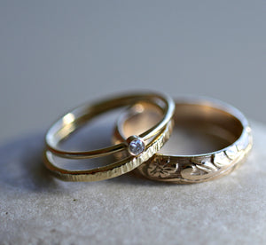 Set of 3 Gold Hammered Band Rings, Stacking Ring Set