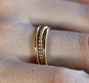 Beaded 14k Gold Stacking Rings, Set Of 3 Rings