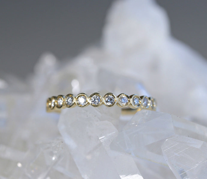 14k  Gold Half Eternity Ring in White Gold or Rose Gold, Bezel Set Diamond Wedding Band
