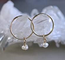 Load image into Gallery viewer, Pearl Hoop Earrings in Rose Gold or Yellow Gold, Bridal Earrings