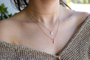 Personalized Layered Rose Gold Necklaces, Set of Two