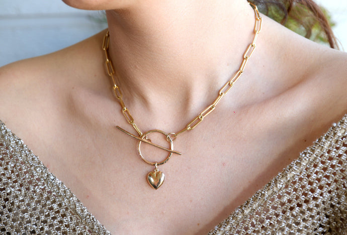 Gold Toggle Chunky Thick Chain Necklace With Puffy Heart