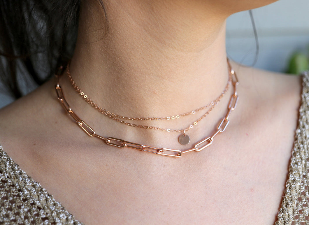 Rose Gold Filled Chunky Necklace, Link Thick Chain Necklace