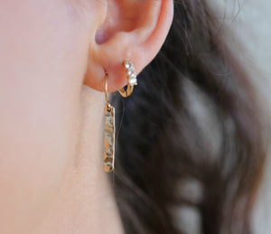 Gold Filled Hammered Bar Earrings