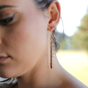 Hammered Gold Long Bar Earrings