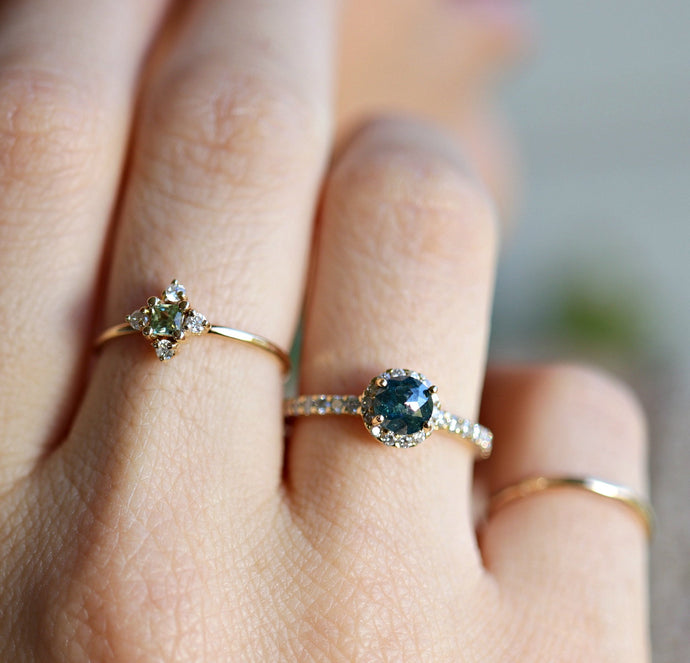 Rose Cut Teal Blue Diamond Engagement Ring