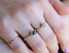 Load image into Gallery viewer, Rose Cut Teal Blue Diamond Engagement Ring