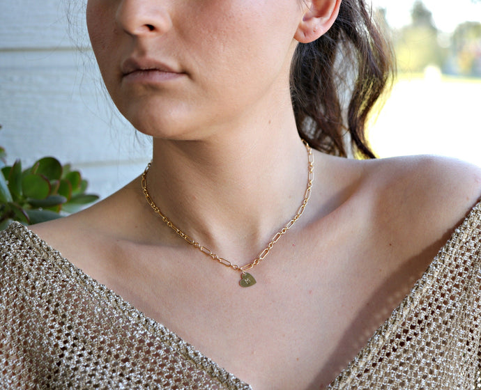 Personalized Heart Gold Chain Necklace, Initial Gold Filled Layering Necklace