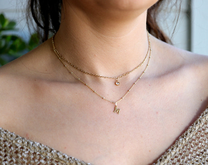 Personalized Initials Gold Necklace, Gold Filled Layering Necklace
