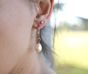 Keshi Pearl Hoop Earrings in Rose Gold or Yellow Gold Filled