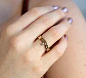 14k Gold Chevron Wedding Band with Diamond Ring
