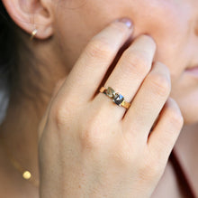 Load image into Gallery viewer, Princess Rose Cut Black Diamond and Leaf Ring