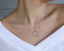 Load image into Gallery viewer, Interlocking Circle Necklace, Gold Double Circle Necklace