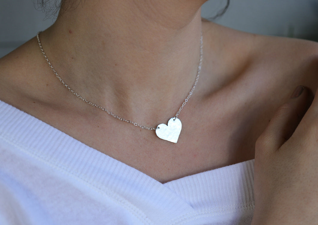 Silver Hammered Heart Personalized Necklace