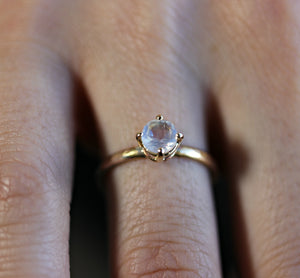 Rainbow Moonstone 14k Gold Ring