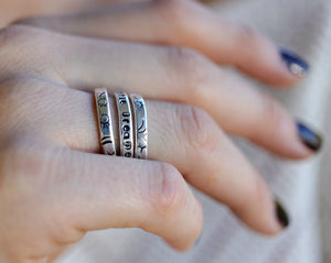 Hand Stamped Silver Ring, Personalized Stacking  Ring