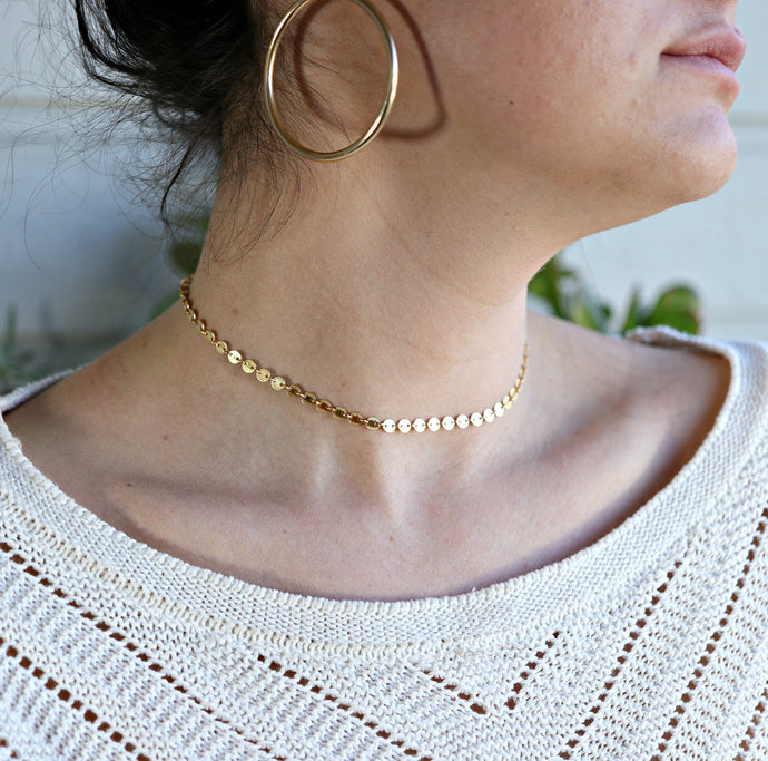 Gold Coin Disc Choker