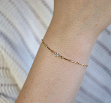 Load image into Gallery viewer, Dainty Gold Chain Blue Topaz Bracelet