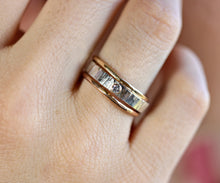 Load image into Gallery viewer, Hammered Silver Band Diamond Ring, Mixed Metal Ring