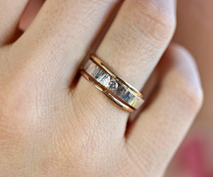 Sterling Silver Diamond Ring, Hammered Silver Band Diamond Ring, Mixed Metal Ring, 14k Gold Bezel Setting