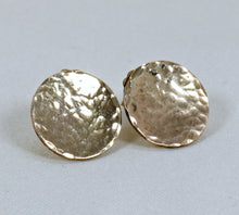 Load image into Gallery viewer, Hammered Gold Disc Stud Earrings