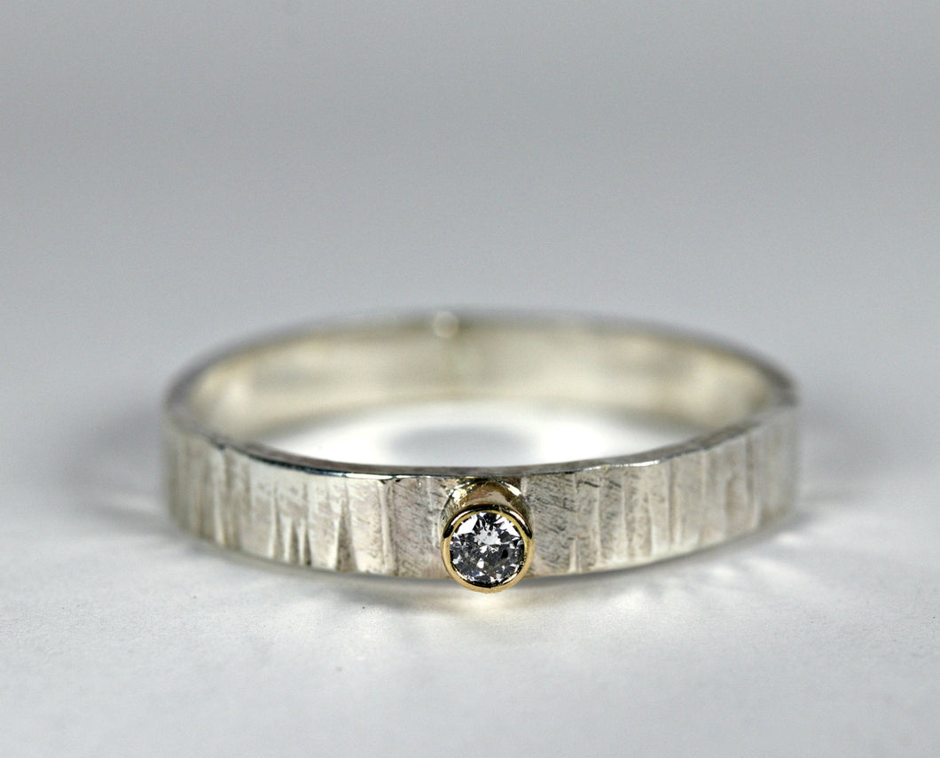 Hammered Silver Band Diamond Ring, Mixed Metal Ring