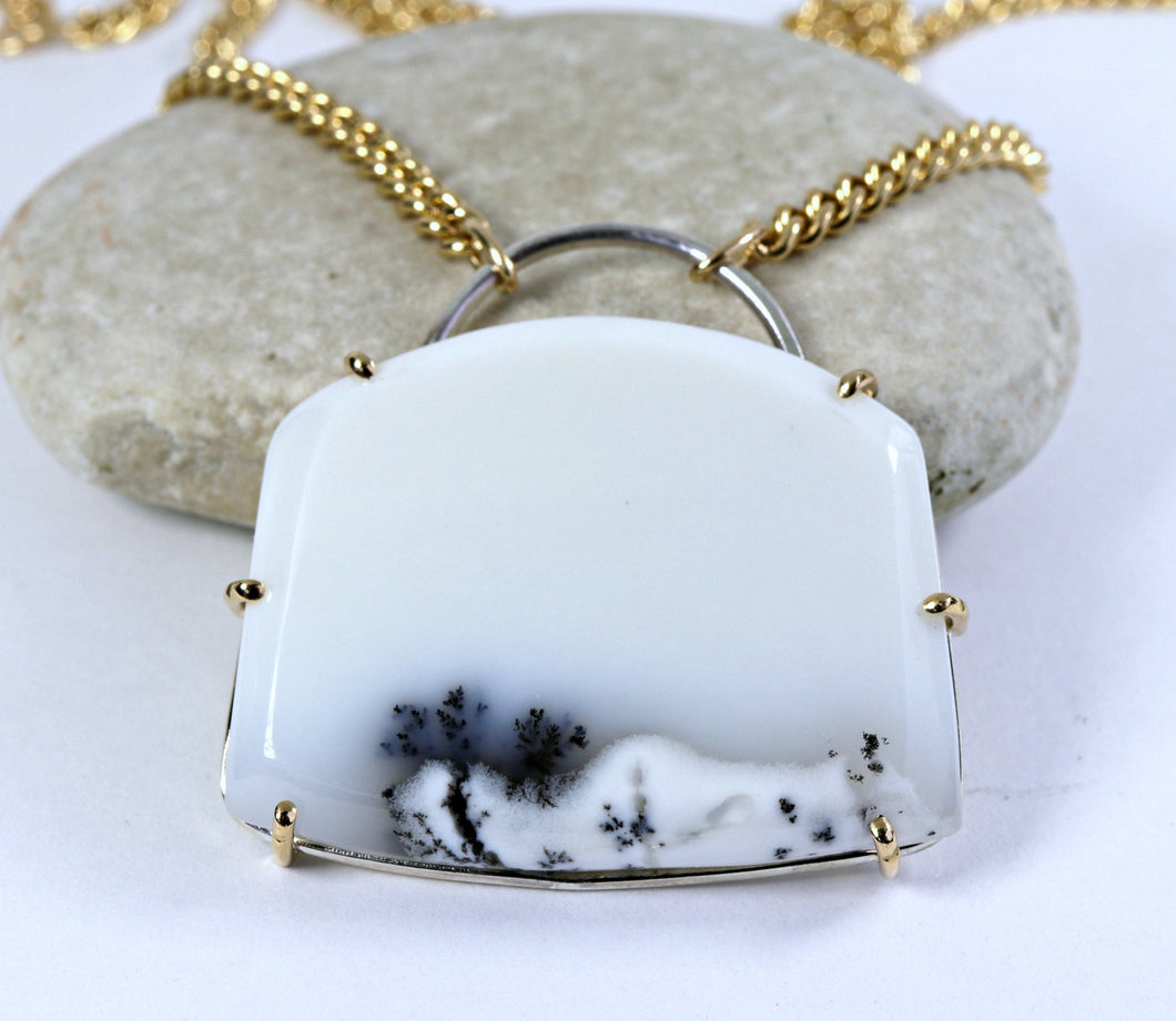 Dendritic Opal 14k Gold Prong Pendant