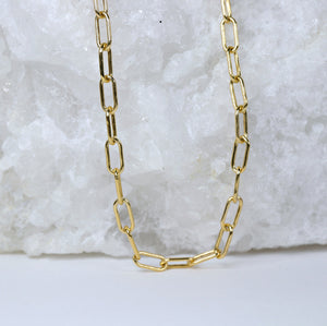 Thin Rectangle Link Chain Choker, Gold Filled Paper Clip Chain Necklace, Layering Gold Chain Necklace