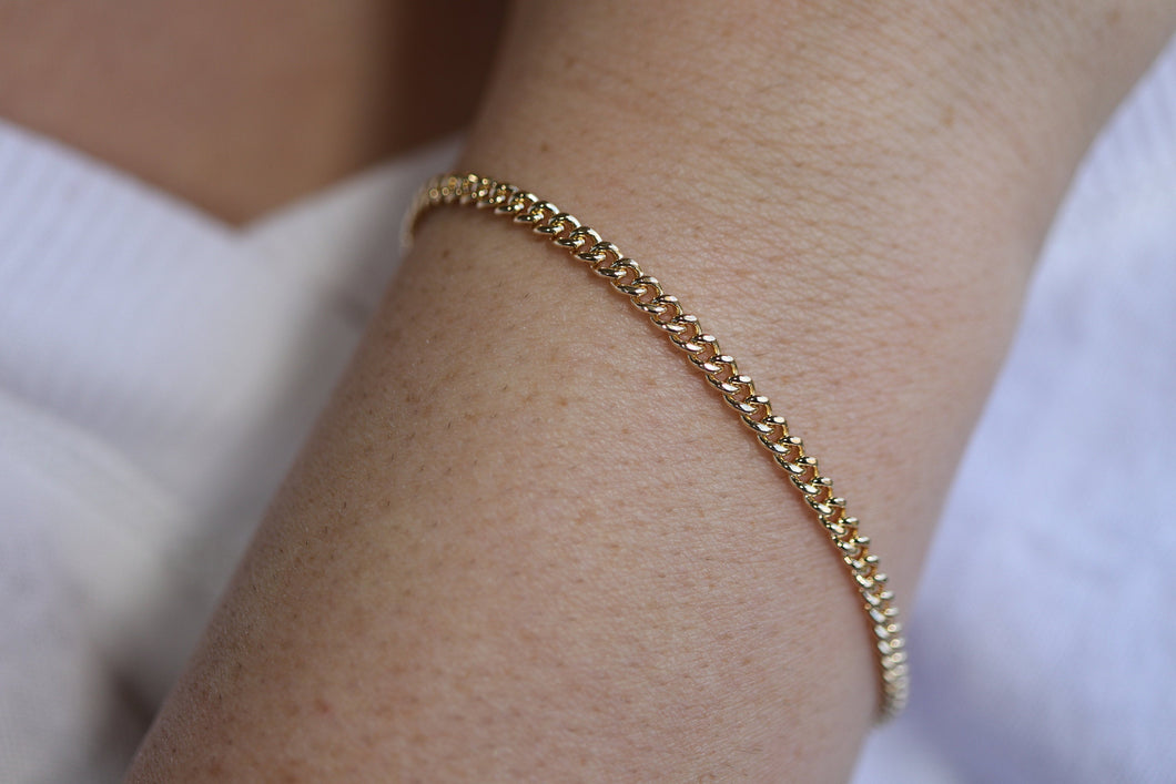 Gold Curb Chain Bracelet, Gold Filled Stacking Bracelet