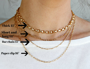 Dainty Long Short Link Gold Chain Necklace- Gold Filled