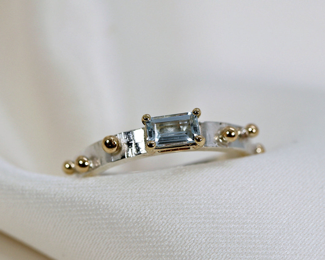 Mixed Metal Emerald Cut Aquamarine Ring, Art Deco Eternity Band