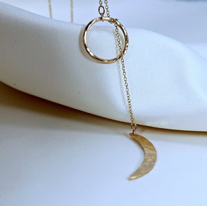 Gold Sun and Moon Lariat Necklace