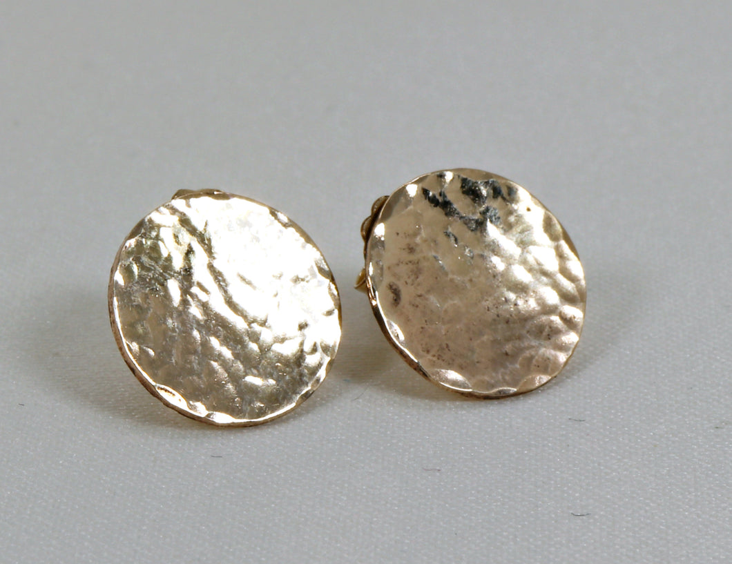 Hammered Gold Disc Stud Earrings