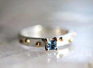 Silver and Gold Mixed Metal Princess Cut Aquamarine Ring, Special Design