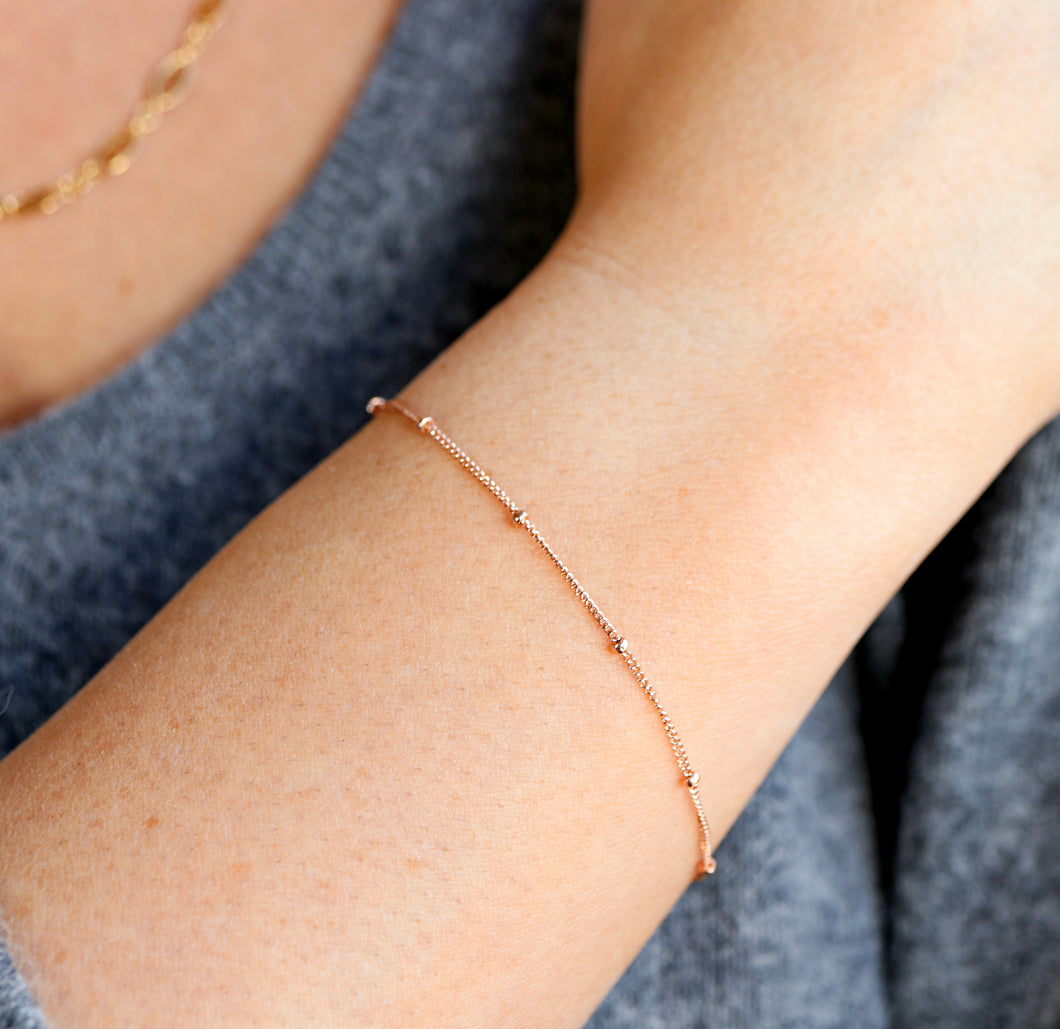 Dainty Rose Gold Satellite Chain Bracelet