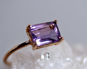 Emerald Cut Amethyst Ring in 14k Rose Gold or Yellow Gold