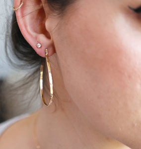 Hammered Gold Large Hoop Earrings